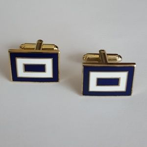 Vintage - Men's Blue & White Enamel Cufflinks
